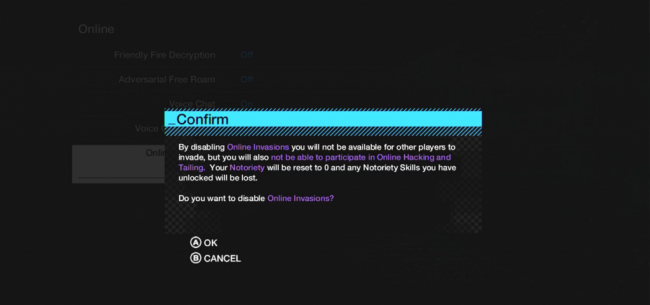 Watch Dogs disable online invasion